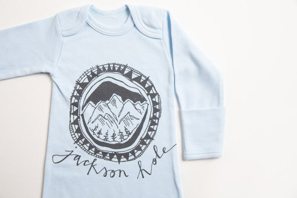Jackson Hole Logo Baby Gown - Bird & Buffalo