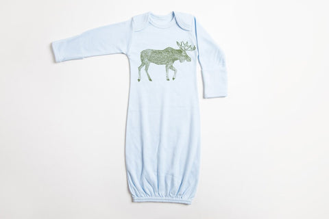 Moose Baby Gown - Bird and Buffalo, Made in Jackson Hole, WY