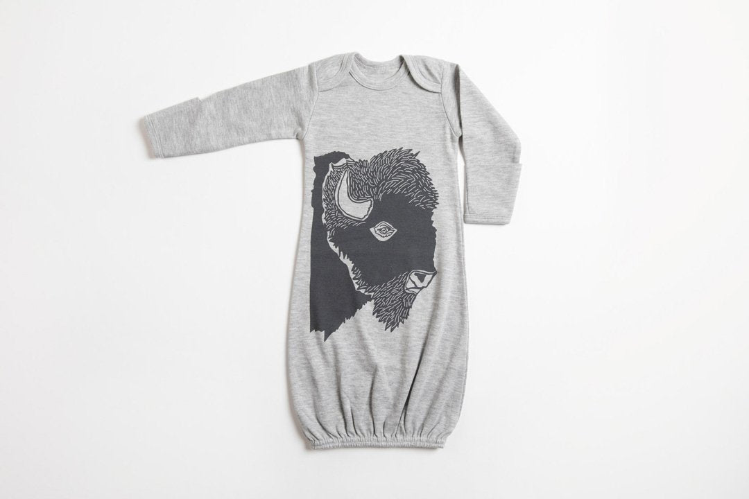 Bison Profile Baby Gown - Bird and Buffalo, Made in Jackson Hole, WY