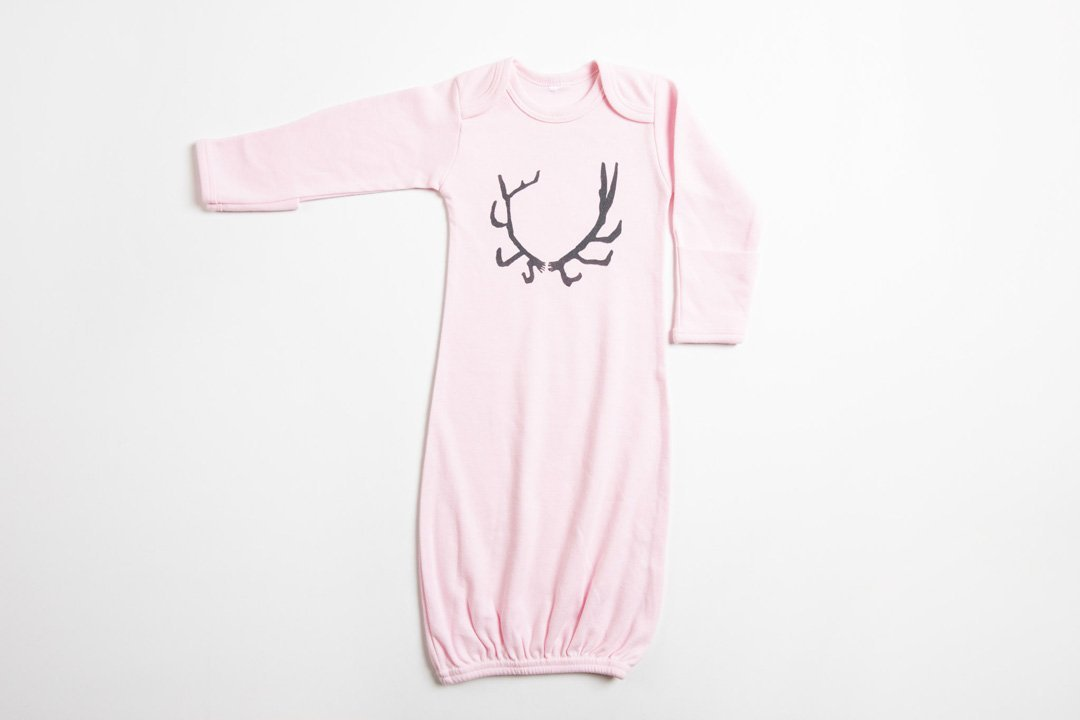 Antler Baby Gown - Bird and Buffalo, Made in Jackson Hole, WY