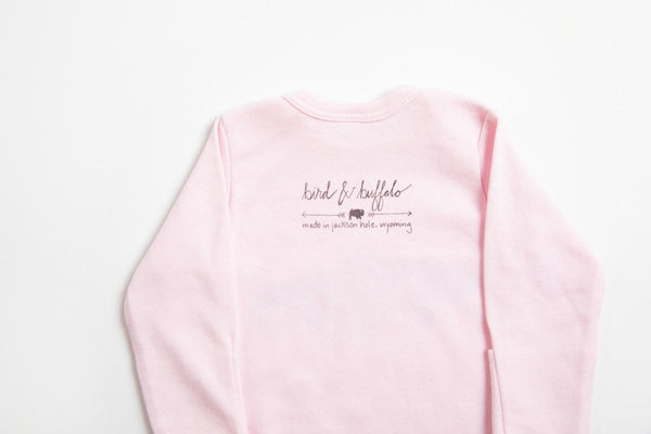 Jackson Hole Logo Baby Gown - Bird and Buffalo, Made in Jackson Hole, WY