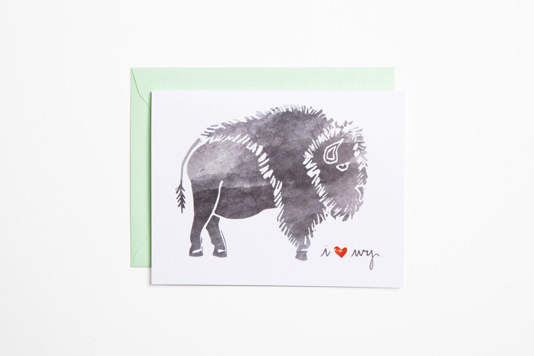 Greeting Card - Bison I Heart WY - Bird and Buffalo, Made in Jackson Hole, WY