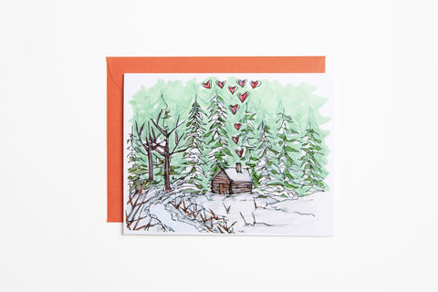 Greeting Card - Cabin in the Woods - Bird and Buffalo, Made in Jackson Hole, WY