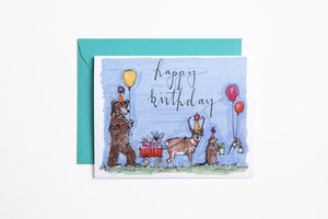 Greeting Card - Happy Birthday Animal Parade - Bird and Buffalo, Made in Jackson Hole, WY