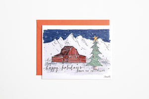Greeting Card - Happy Holidays from the Mountains Barn - Bird & Buffalo