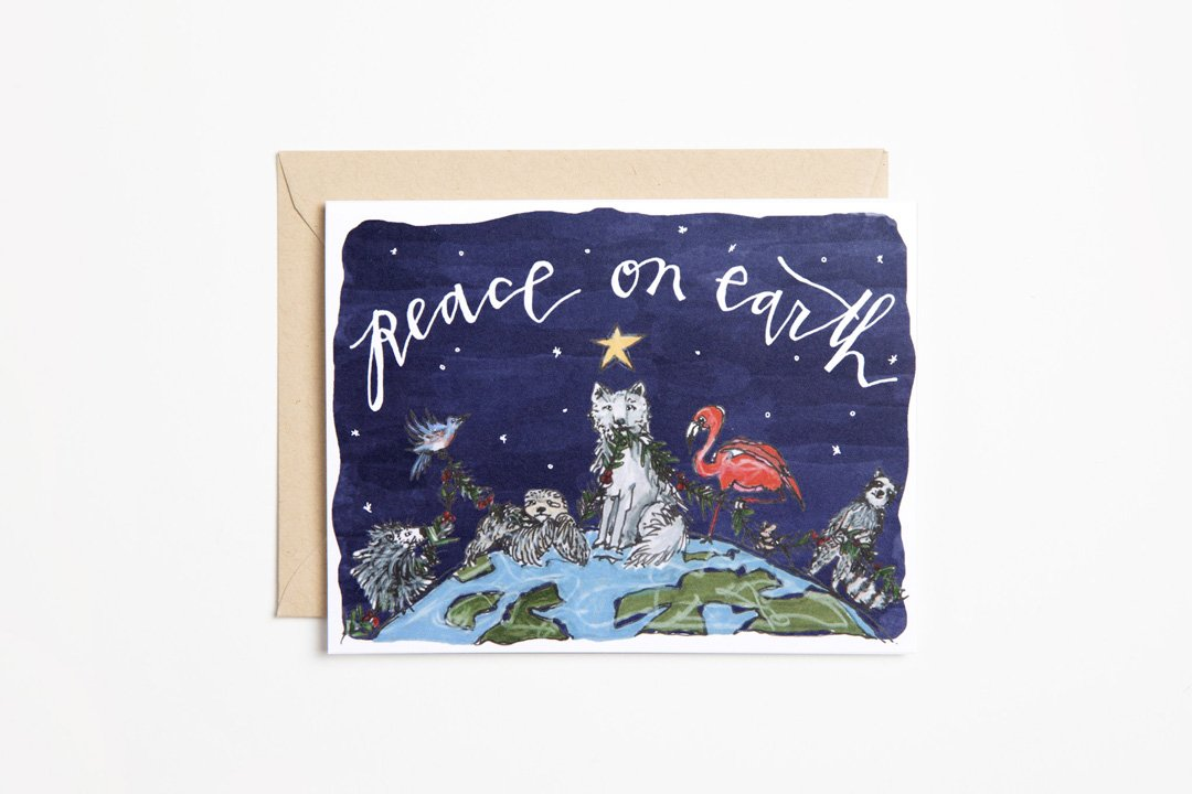 Greeting Card - Peace on Earth Animals - Bird and Buffalo, Made in Jackson Hole, WY