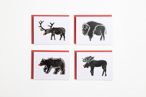 Greeting Card - Red Nose Animals Set of 4 - Bird and Buffalo, Made in Jackson Hole, WY