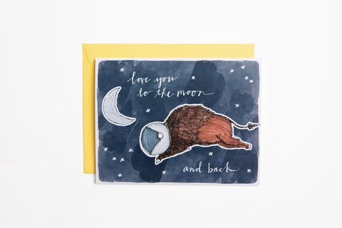 Greeting Card - Space Bison - Bird and Buffalo, Made in Jackson Hole, WY