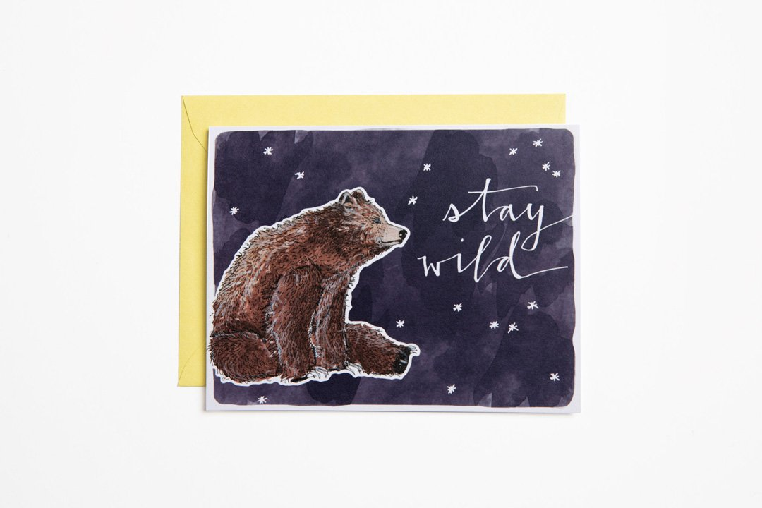 Greeting Card - Stay Wild - Bird and Buffalo, Made in Jackson Hole, WY