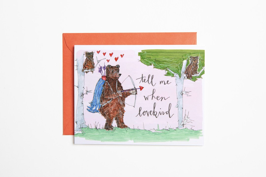 Greeting Card - Tell Me When Lovebird - Bird and Buffalo, Made in Jackson Hole, WY