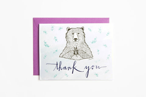 Greeting Card - Thank You Bear - Bird and Buffalo, Made in Jackson Hole, WY