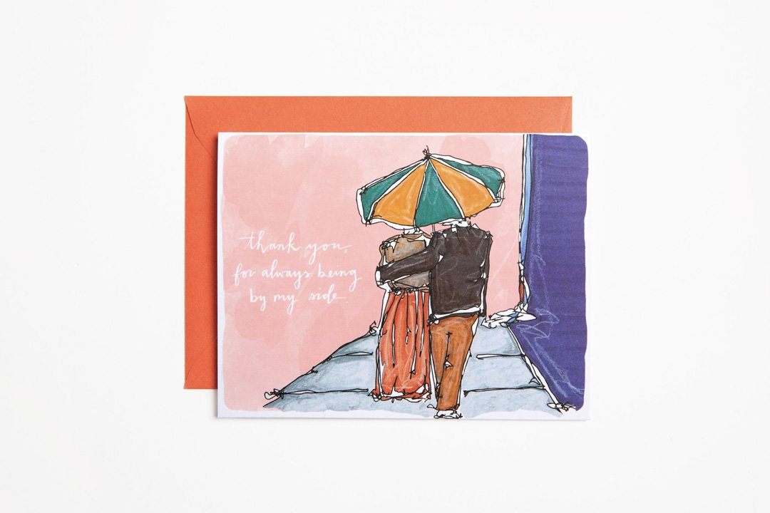 Greeting Card - Umbrella Friend - Bird and Buffalo, Made in Jackson Hole, WY