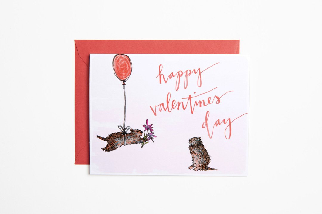 Greeting Card - Valentines Marmots - Bird and Buffalo, Made in Jackson Hole, WY