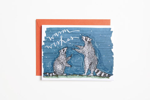 Greeting Card - Warm Wishes Raccoons - Bird and Buffalo, Made in Jackson Hole, WY