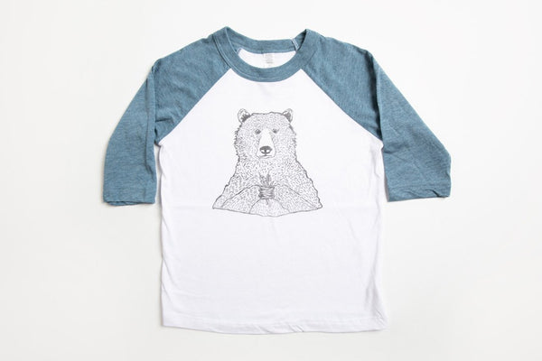 Bear Holding Flowers Kid's Baseball Shirt Blue/White - Bird and Buffalo, Made in Jackson Hole, WY