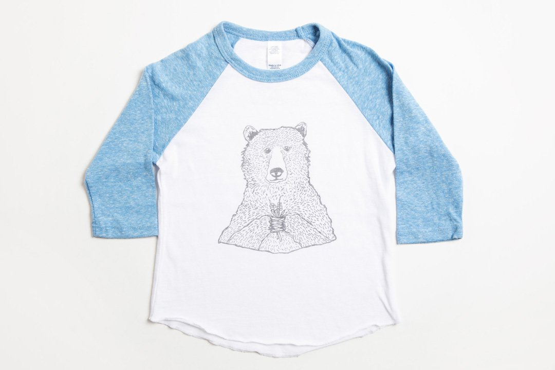 Bear Holding Flowers Kid's Baseball Shirt Pool Blue/White - Bird and Buffalo, Made in Jackson Hole, WY
