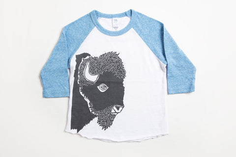 Bison Profile Kid's Baseball Shirt Pool Blue/White - Bird and Buffalo, Made in Jackson Hole, WY