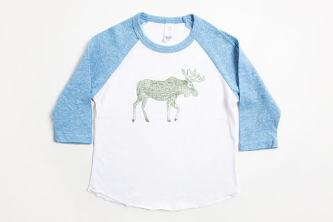 Moose Kid's Baseball Shirt Pool Blue/White - Bird and Buffalo, Made in Jackson Hole, WY