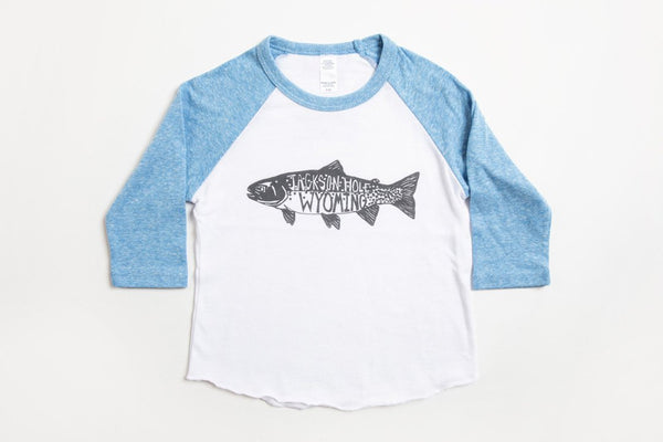 Trout Kid's Baseball Shirt Pool Blue/White - Bird and Buffalo, Made in Jackson Hole, WY