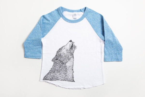 Wolf Kid's Baseball Shirt Pool Blue/White - Bird and Buffalo, Made in Jackson Hole, WY