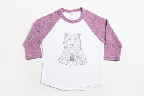Bear Holding Flowers Kid's Baseball Shirt Purple/White - Bird and Buffalo, Made in Jackson Hole, WY