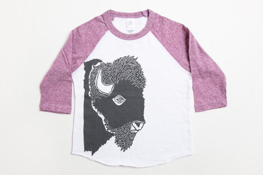 Bison Profile Kid's Baseball Shirt Purple/White - Bird and Buffalo, Made in Jackson Hole, WY