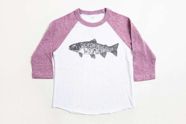 Trout Kid's Baseball Shirt Purple/White - Bird and Buffalo, Made in Jackson Hole, WY