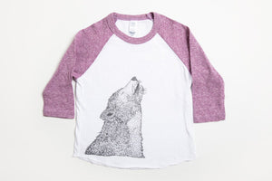 Wolf Kid's Baseball Shirt Purple/White - Bird and Buffalo, Made in Jackson Hole, WY