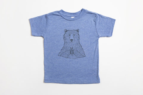 Bear Holding Flowers Kid's Shirt Blue - Bird and Buffalo, Made in Jackson Hole, WY