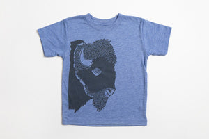 Bison Profile Kid's Shirt Blue - Bird and Buffalo, Made in Jackson Hole, WY