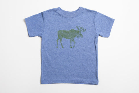 Moose Kid's Shirt Blue - Bird and Buffalo, Made in Jackson Hole, WY