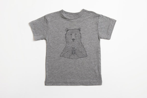 Bear Holding Flowers Kid's Shirt Gray - Bird and Buffalo, Made in Jackson Hole, WY
