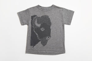 Bison Profile Kid's Shirt Gray - Bird and Buffalo, Made in Jackson Hole, WY