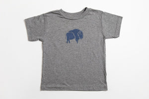 Bison Kid's Shirt Gray - Bird and Buffalo, Made in Jackson Hole, WY