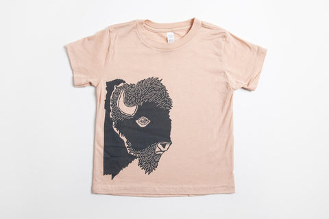 Bison Profile Kid's Shirt Peach - Bird and Buffalo, Made in Jackson Hole, WY
