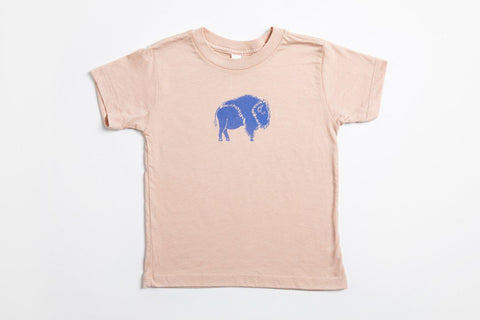 Bison Kid's Shirt Peach - Bird and Buffalo, Made in Jackson Hole, WY