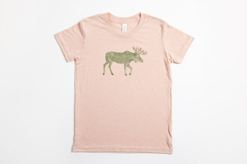 Moose Kid's Shirt Peach - Bird and Buffalo, Made in Jackson Hole, WY