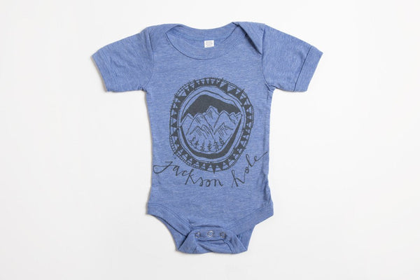 Jackson Hole Logo Onesie - Bird and Buffalo, Made in Jackson Hole, WY