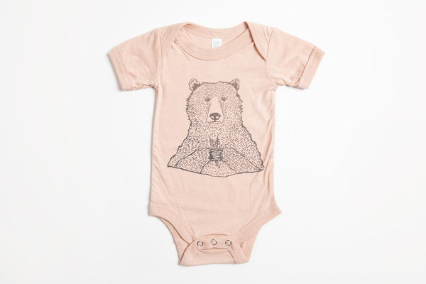 Bear Holding Flowers Onesie - Bird and Buffalo, Made in Jackson Hole, WY