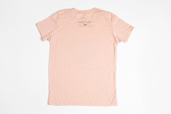 Jackson Hole Logo Kid's Shirt Peach - Bird and Buffalo, Made in Jackson Hole, WY