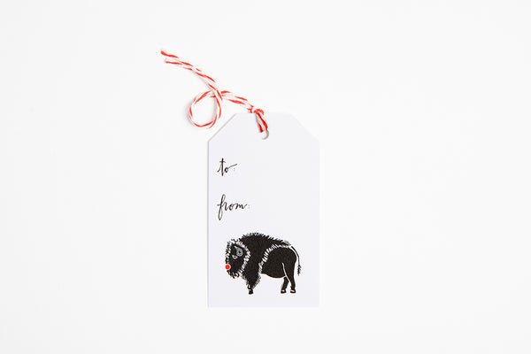 Gift Tag - Red Nose Bison - Bird & Buffalo