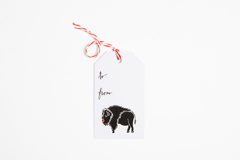 Gift Tag - Red Nose Bison - Bird and Buffalo, Made in Jackson Hole, WY