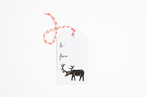 Gift Tag - Red Nose Elk - Bird and Buffalo, Made in Jackson Hole, WY