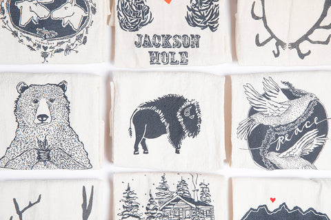 Tea Towel - Pick your own Set of 3 - Bird and Buffalo, Made in Jackson Hole, WY