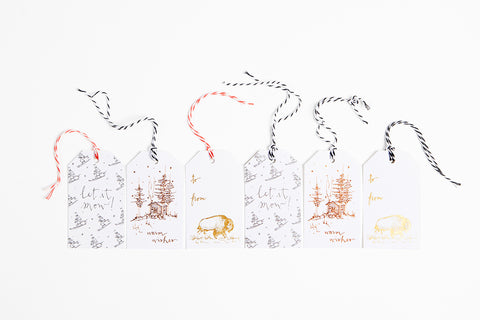 Foil Gift Tag - Pick Your Own Set - Bird and Buffalo, Made in Jackson Hole, WY