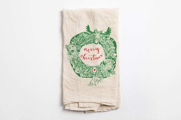 Tea Towel - Animal Wreath - Bird and Buffalo, Made in Jackson Hole, WY