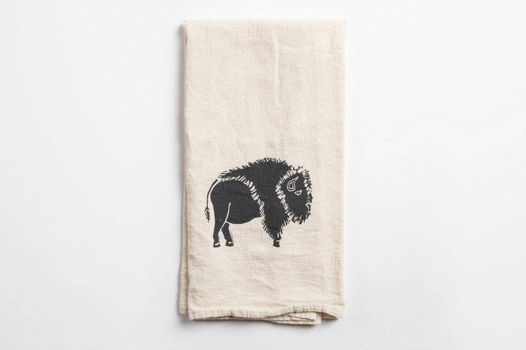 Tea Towel - Bison - Bird and Buffalo, Made in Jackson Hole, WY