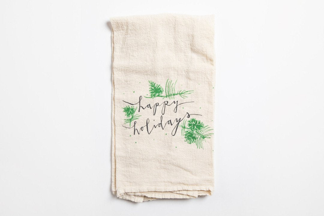 Tea Towel - Happy Holidays Pinecones - Bird and Buffalo, Made in Jackson Hole, WY