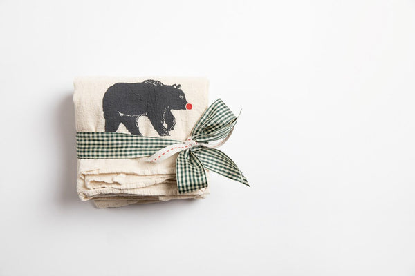 Tea Towel - Red Nose Bear - Bird and Buffalo, Made in Jackson Hole, WY