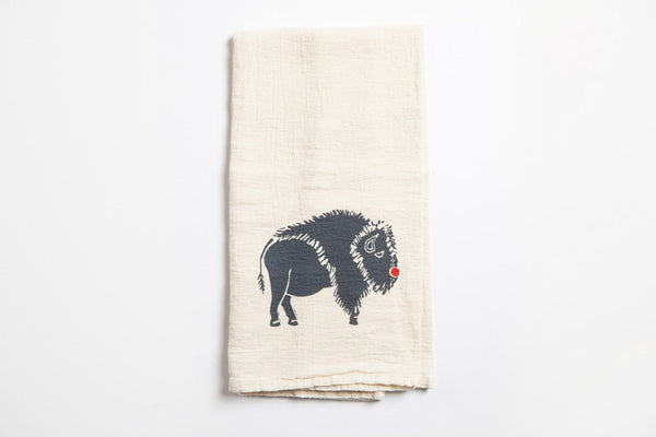 Tea Towel - Red Nose Bison - Bird and Buffalo, Made in Jackson Hole, WY